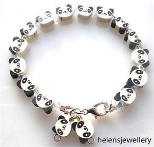 【送料無料】ブレスレット アクセサリ― ハンドメイドパンダブレスレットボックススワロフスキーhandmade beautiful panda bracelet with swarovski in beautiful box free pamp;p