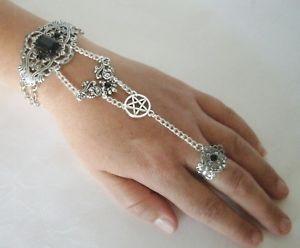 【送料無料】ブレスレット アクセサリ― スレーブブレスレットpentacle slave bracelet wiccan pagan wicca witch pentagram witchcraft hand chain