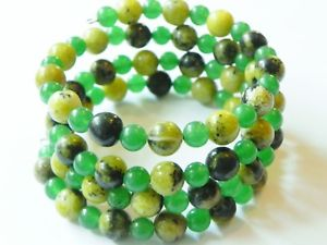 【送料無料】ブレスレット アクセサリ― ジャスパーラップカフワイヤーブレスレットjasper and green aventurine wrapcuff gemstone memory wire bracelet, shades of g
