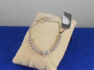【送料無料】ブレスレット アクセサリ― セザンヌディラードsilvertoneブレスレットcezanne dillards sensitive skin silvertone pave heart beaded pulley bracelet