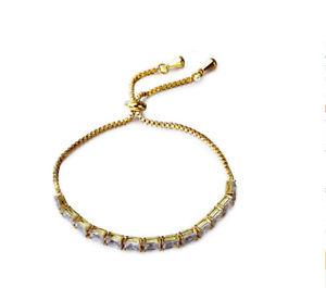 【送料無料】ブレスレット アクセサリ― キラキリアホワイトジルコンテニスアジャスタブルブレスレットsparkling clear white zircon tennis adjustable bracelet gold plated women gift