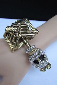 【送料無料】ブレスレット アクセサリ― ブレスレットファッションゴールドスケルトンジュエリーハロウィーンカフwomen bracelet fashion gold bling skeleton jewelry halloween cuff skull bones