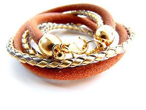 【送料無料】ブレスレット アクセサリ― ラップブレスレットブレスレットブラウンゴールドシルバーcatiawrap bracelet leather bracelet leather brown, gold, silver, catia levy