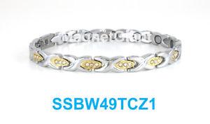 【送料無料】ブレスレット アクセサリ― トーンステンレススチールリンクブレスレット2 tone hugs amp; kisses with cz women magnetic stainless steel link bracelet