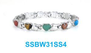 【送料無料】ブレスレット アクセサリ― シルバーマルチカラーステンレススチールリンクブレスレットハートsilver amp; multi color stones women magnetic stainless steel link heart bracelet
