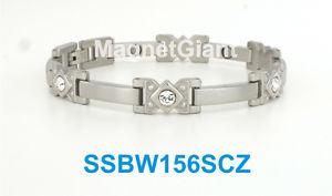 【送料無料】ブレスレット アクセサリ― czステンレスリンクsilver women high power magnetic stainless steel link bracelet with cz