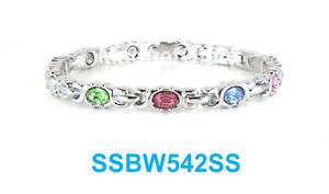【送料無料】ブレスレット アクセサリ― シルバーステンレススチールリンクブレスレットマルチカラーmulti colors crystals on a silver women magnetic stainless steel link bracelet