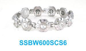 【送料無料】ブレスレット アクセサリ― ステンレススチールリンクブレスレットclear crystals on silver flowers women magnetic stainless steel link bracelet