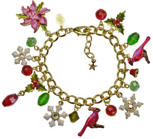 【送料無料】ブレスレット アクセサリ― カークポインセチアチャームブレスレットgoldtonekirks folly poinsettia cardinal charm bracelet goldtone
