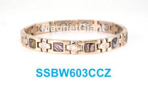 【送料無料】ブレスレット アクセサリ― アワビシェルローズゴールドクリアステンレススティールブレスレットabalone shell rose gold clear crystals women magnetic stainless steel bracelet