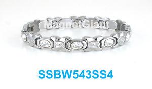 【送料無料】ブレスレット アクセサリ― ステンレススチールリンクブレスレットsilver hugs amp; kisses with crystals women magnetic stainless steel link bracelet