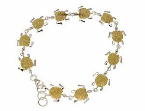 【送料無料】ブレスレット アクセサリ― 925 sterlinghawaiian honu turtle 2t yellow goldplated bracelet medium925 sterling silver hawaiian honu turtle 2t yellow go