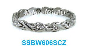 【送料無料】ブレスレット アクセサリ― ステンレススチールリンクブレスレットsilver hugs amp; kisses with x cz women magnetic stainless steel link bracelet