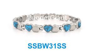 【送料無料】ブレスレット アクセサリ― トルコステンレスリンクシルバーsilver with turquoise stone women magnetic stainless steel link heart bracelet