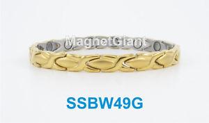 【送料無料】ブレスレット アクセサリ― ゴールドステンレススチールリンクブレスレットgold hugs and kisses women magnetic stainless steel link bracelet