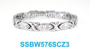 【送料無料】ブレスレット アクセサリ― クリアステンレススチールリンクブレスレットsilver hugs amp; kisses clear crystals women magnetic stainless steel link bracelet