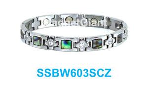 【送料無料】ブレスレット アクセサリ― アワビシェルシルバークリアステンレススティールブレスレットabalone shell silver clear crystals women magnetic stainless steel bracelet