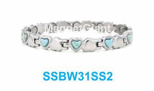 【送料無料】ブレスレット アクセサリ― トルコステンレスシルバーshiny silver with turquoise stone women magnetic stainless steel heart bracelet