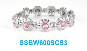 【送料無料】ブレスレット アクセサリ― ステンレススチールリンクブレスレットピンクpink crystals on silver flowers women magnetic stainless steel link bracelet