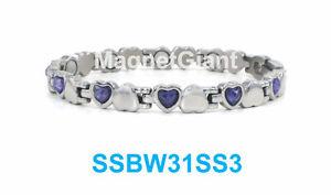 【送料無料】ブレスレット アクセサリ― シルバーステンレススチールハートブレスレットshiny silver with purple crystals women magnetic stainless steel heart bracelet