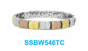 【送料無料】ブレスレット アクセサリ― シルバーステンレスリンクssbw546tcgold silver and copper women magnetic stainless steel link bracelet ssbw546tc