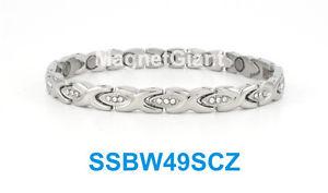 【送料無料】ブレスレット アクセサリ― ステンレススチールリンクブレスレットsilver hugs amp; kisses with cz women magnetic stainless steel link bracelet
