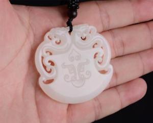 【送料無料】ブレスレット アクセサリ― チャイナhetianホワイト2ドラゴンペンダントchina natural xinjiang hetian white jade two dragon beast pendant amulet