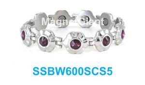 【送料無料】ブレスレット アクセサリ― ステンレスリンククリスタルpurple crystals on silver flowers women magnetic stainless steel link bracelet