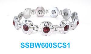 【送料無料】ブレスレット アクセサリ― ステンレスルビーdark ruby red crystals on silver flowers women magnetic stainless steel bracelet