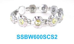 【送料無料】ブレスレット アクセサリ― ステンレススチールリンクブレスレットyellow crystals on silver flowers women magnetic stainless steel link bracelet