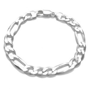 【送料無料】ブレスレット アクセサリ― 925 スターリングフィガロリンクチェーンブレスレット9mm250ゲージ925 sterling silver solid figaro link chain mens bracelet 9mm 250 gauge