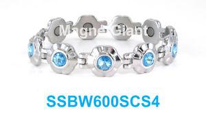 【送料無料】ブレスレット アクセサリ― シルバーステンレスリンクlight blue crystals silver flowers women magnetic stainless steel link bracelet
