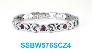 【送料無料】ブレスレット アクセサリ― アメジストクリアシルバーステンレススティールブレスレットpurple amethyst amp; clear crystals silver women magnetic stainless steel bracelet