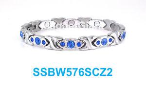 【送料無料】ブレスレット アクセサリ― シルバーキスステンレススチールリンクブレスレットblue crystals silver hugs amp; kisses women magnetic stainless steel link bracelet