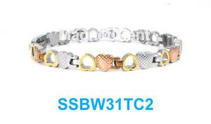 【送料無料】ブレスレット アクセサリ― トーンオープンクローズステンレススチールリンクブレスレット3 tone open and close heart women magnetic stainless steel link bracelet