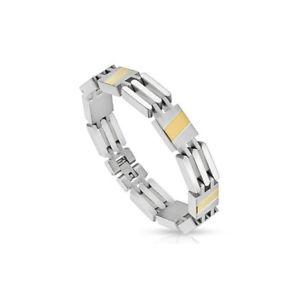 【送料無料】ブレスレット アクセサリ― man bracelet steel stripe golden
