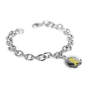 【送料無料】ブレスレット アクセサリ― myiddrチャームブレスレット oリンクmyiddr custom engraved yellow awareness charm bracelet steel olink