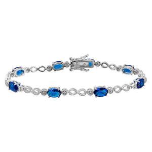 【送料無料】ブレスレット アクセサリ― スターリングシルバーホワイトリンクテニスブレスレットsterling silver oval blue amp; white cz stones infinity links tennis bracelet