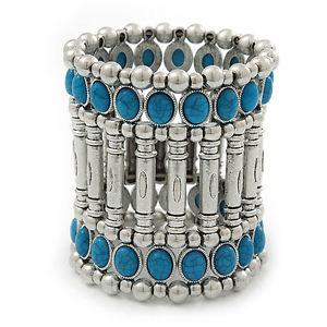 【送料無料】ブレスレット アクセサリ― ビンテージワイドメッキターコイズビーズフレックスブレスレットvintage wide turquoise bead flex bracelet in silver plating 19cm wrist 75mm w