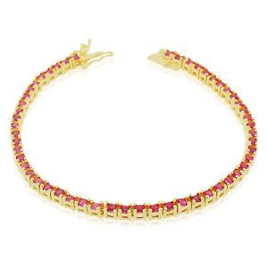 【送料無料】ブレスレット アクセサリ― スターリングシルバーラウンドテニスブレスレット925 sterling silver yellow goldtone red rubytone round cz tennis bracelet, 7
