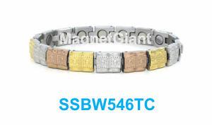 【送料無料】ブレスレット アクセサリ― ゴールドシルバーステンレスリンクssbw546tcgold silver and copper women magnetic stainless steel link bracelet ssbw546tc