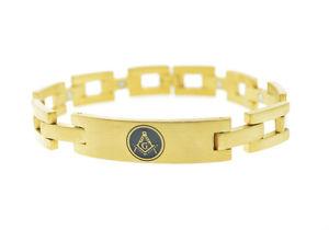 【送料無料】ブレスレット アクセサリ― ブレスレットゴールドカラーステンレススチールスクエアリンクブレスレットfreemason bracelet gold color stainless steel square link bracelet