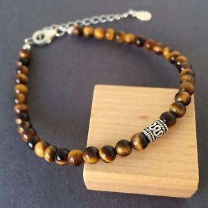 【送料無料】ブレスレット アクセサリ― タイガーアイブレスレットスターリングシルバービーズnatural brown tigers eye bracelet buddhism sterling silver bead
