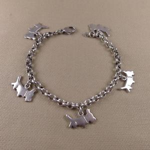 【送料無料】ブレスレット アクセサリ― ソリッドシルバーブレスレットスコットランドテリアold solid silver bracelet dogs scottish terrier