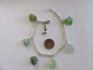 【送料無料】ブレスレット アクセサリ― シーグラスパールシルバーブレスレットreal sea glass charm bracelet with mermaid charm and pearl blues greens silver