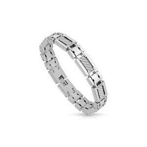 【送料無料】ブレスレット アクセサリ― メンズスティールブレスレットカーボンファイバーホワイトmens steel bracelet carbon fiber white