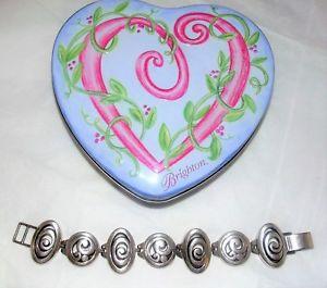 【送料無料】ブレスレット アクセサリ― ブライトンシルバースワールリンクブレスレットbrighton silver vertigo swirl link bracelet w heart tin