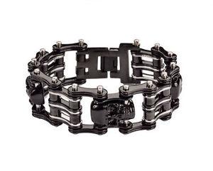【送料無料】ブレスレット アクセサリ― メンズバイカーステンレススチールシルバースカルバイクチェーンブレスレットアメリカmens biker stainless steel silver skull bike chain bracelet usa seller