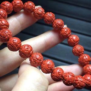 【送料無料】ブレスレット アクセサリ― ビードブレスレットストレッチ88mm natural red cinnabar gemstone beads stretch carve bracelet healing