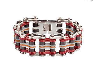 【送料無料】ブレスレット アクセサリ― メンズステンレススチールシルバーレッドグレーレザーバイクチェーンブレスレットアメリカmens stainless steel silver red grey leather bike chain bracelet usa seller